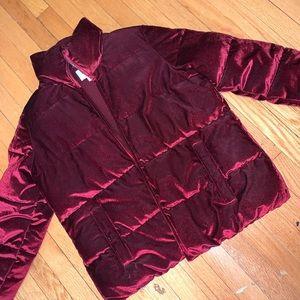 burgundy women's winter coat